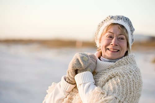 Senior woman enjoying outdoor winter activity